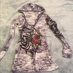 Ed hardy styled hooded long sleeve top